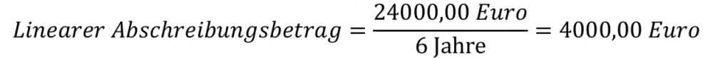 Lineare Abschreibung Formel und Beispiel für den Abschreibungsbetrag
