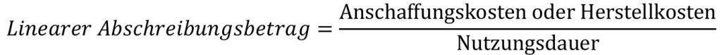 Lineare Abschreibung, Abschreibungsbetrag Formel