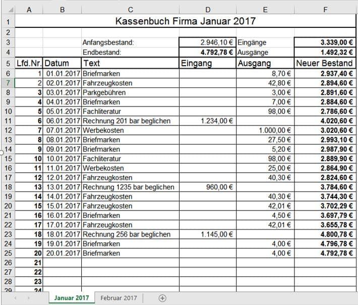 Kassenbuch Vorlage Muster Beispiel Fur Excel Libreoffice Downloaden