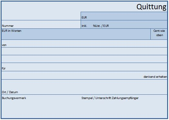 Die Quittung Vorlage oder Muster für Excel, Word oder als PDF Formular, Vordruck kostenlos downloaden